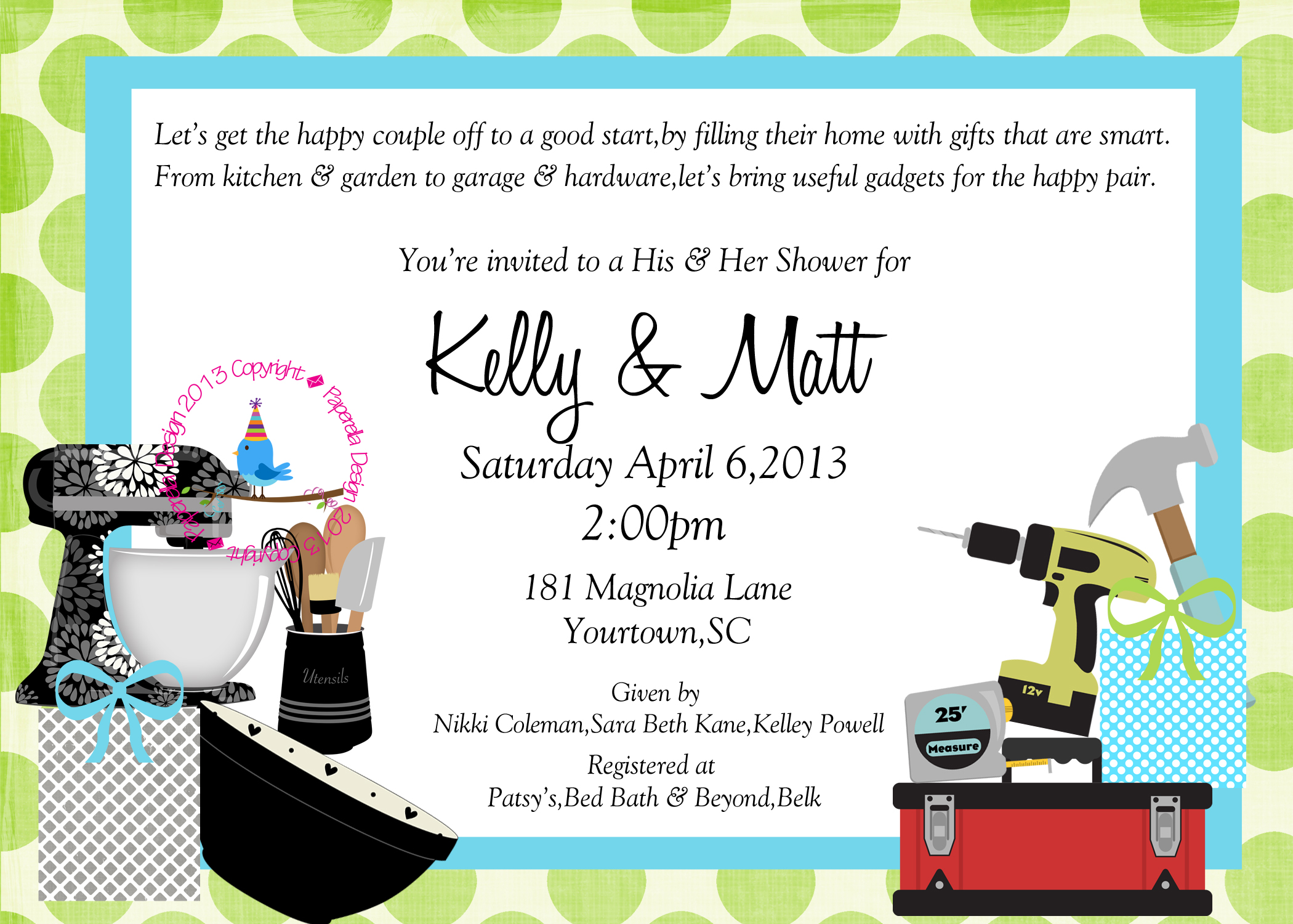 Couples Wedding Shower Invitation on Luulla
